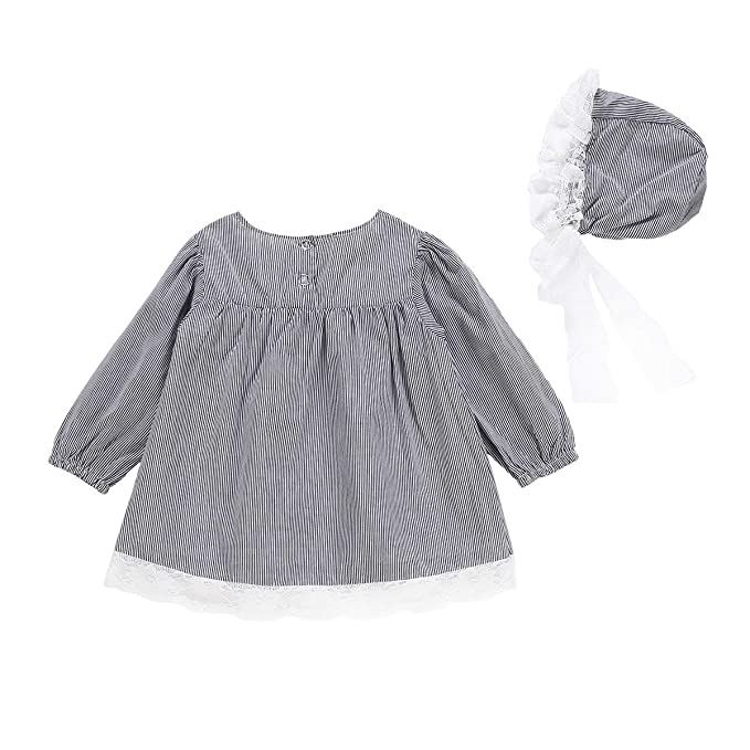 Newborn Baby Girls Dress Outfits Lace Edge Dress Striped Hat Shirt Skirts Clothes