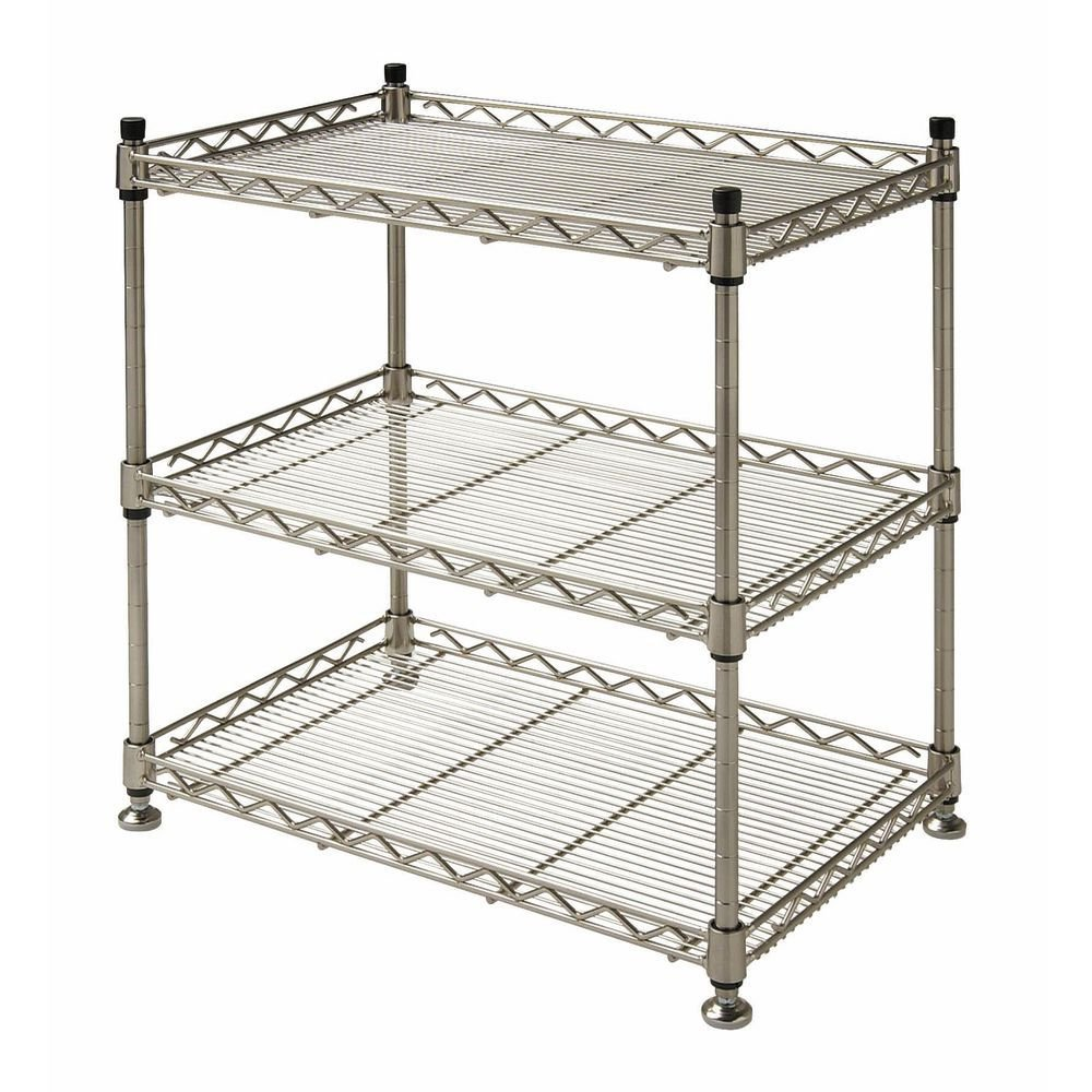 HUBERT 3-Shelf Countertop Merchandising Rack Soft Silver Steel Countertop - 18'' L x 12'' D x 18 1/2 H
