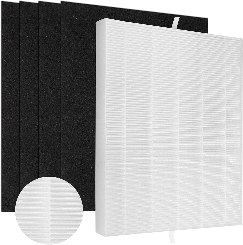 Gazeer 1 Pack C545 True HEPA Filter & 4 Pcs Carbon Pre-Filters Replacement Filter S for Winix C545 Air Purifier, True HEPA Filter and Activated Carbon Filter, Part Number 1712-0096-00