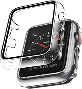 2 Pack LϟK Case Compatible for Apple Watch 42mm Series 3 2 1 Built-in Tempered Glass Screen Protector, All-Around Ultra-Thin Bumper Full Cover Hard PC Protective Case for iWatch 42MM - Clear