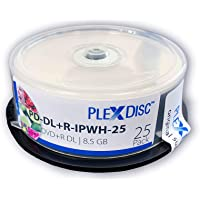 PlexDisc DVD + R DL, 25 piezas, 8X, 8.5GB, doble capa, imprimible por inyección de tinta, blanco mate