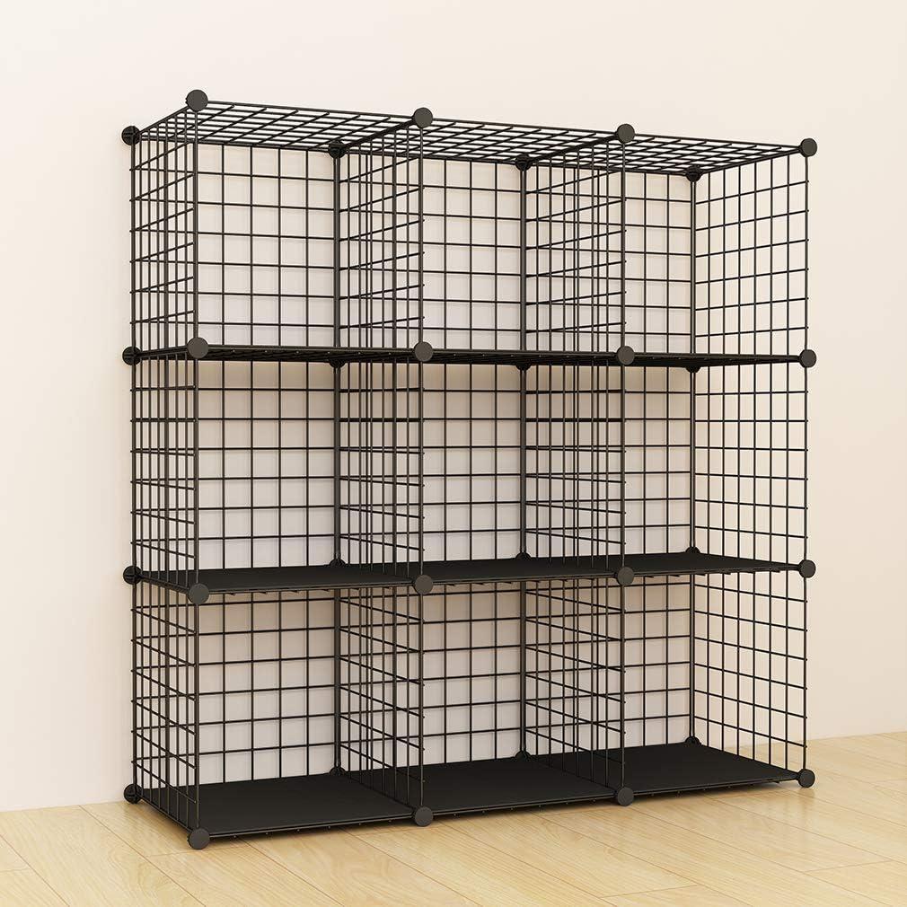 SIMPDIY Bookshelf Multi-function Space-saving Metal Organizer Wire Shelves Cubes Storage Portable Storage Shelf Racks 9 cubes
