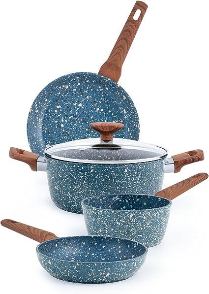 Set di pentole pentole 8 pezzi set di pentole blu padella in acciaio inox antiaderente in vetro ceramica