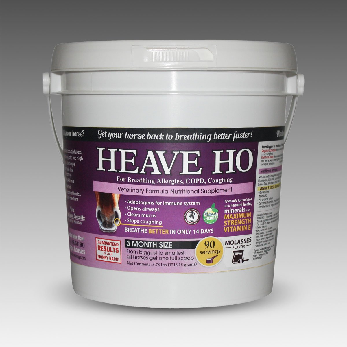 Equine Horse Heave Ho for Heaves, Chronically Allergic Airway, COPD, Asthma Flavor: Molasse by Heave Ho