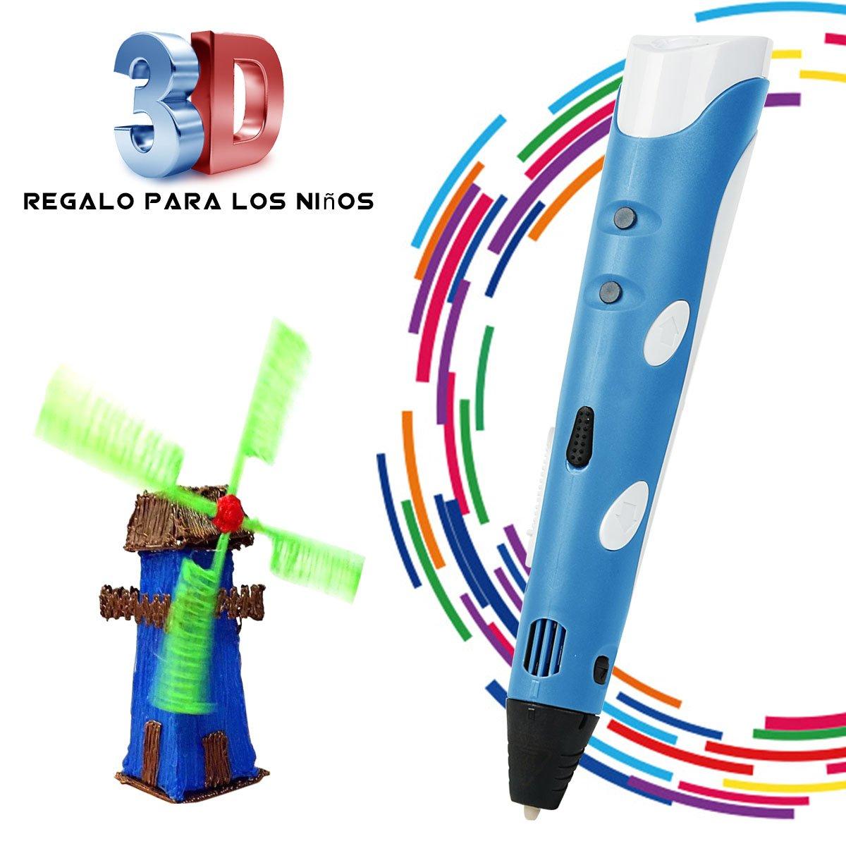 BANGBO 3D Stift Set fü r Kinder,3D Drucker Stift,3D Stereoscopic Printing Pen,3D Stifte mit+ PLA 3 Farben kompatibel mit PLA ABS-Modus Optionen fü r Bastler zu kritzeleien,Erwachsene, basteln, malen und 3D drü cken HW-3DpenEU-Blue