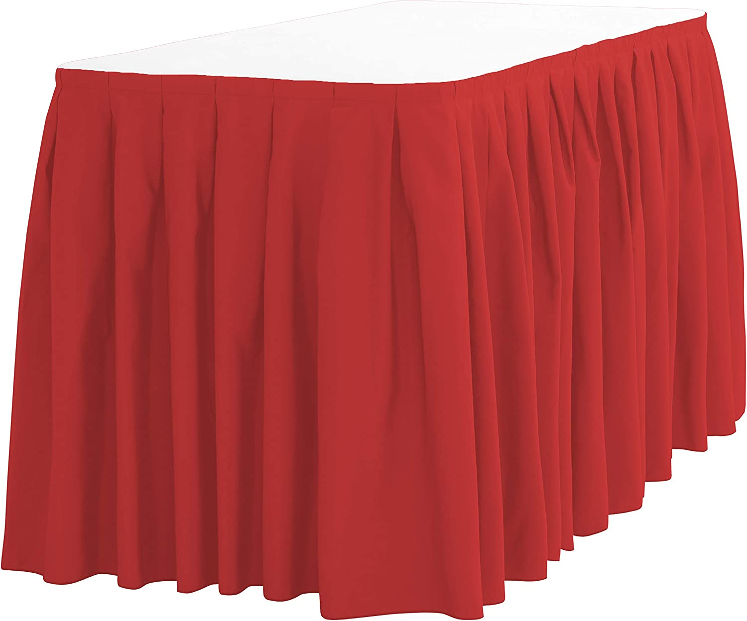 LinenTablecloth 14 ft. Accordion Pleat Polyester Table Skirt Red