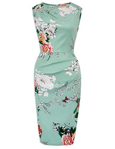 Belle Poque Women's Vintage Sleeveless Floral Pencil Dress Knee Length Cocktail Dress by Belle Poque