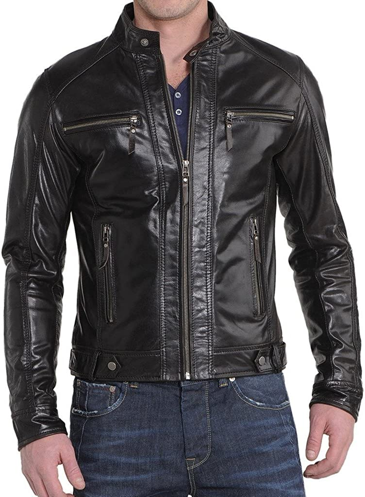 New Mens Leather Motorcycle Jacket Slim Fit Leather Coats LF511