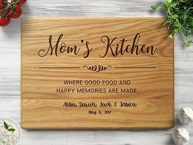 Mothers Day Gift Moms Kitchen Christmas For Mom From Daughter Personalized Cutting Board Custom Birthday
