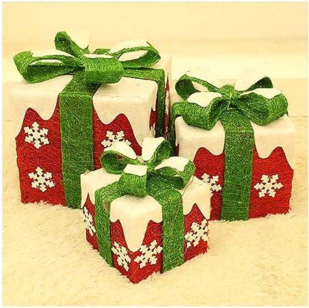 Hierro Arte Pre-Lit, Caja Árbol De Navidad Decoraciones Red De Cajas con Arcos Verdes para Las Bodas De La Navidad Y Decoraciones De Vacaciones (Set De 3),C: Amazon.es: Hogar