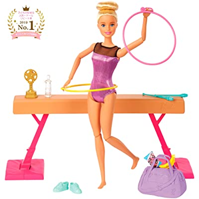 ​Barbie Gymnastics Playset: Barbie Doll with Twirling Feature, Balance Beam, 15+ Accessories for Ages 3 and Up: Toys & Games