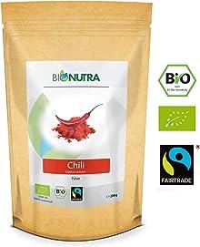 BioNutra Chili-Pulver Bio Fairtrade 250 g, fein gemahlenes Chili (Cayenne, Capsicum annuum), feurig scharf!