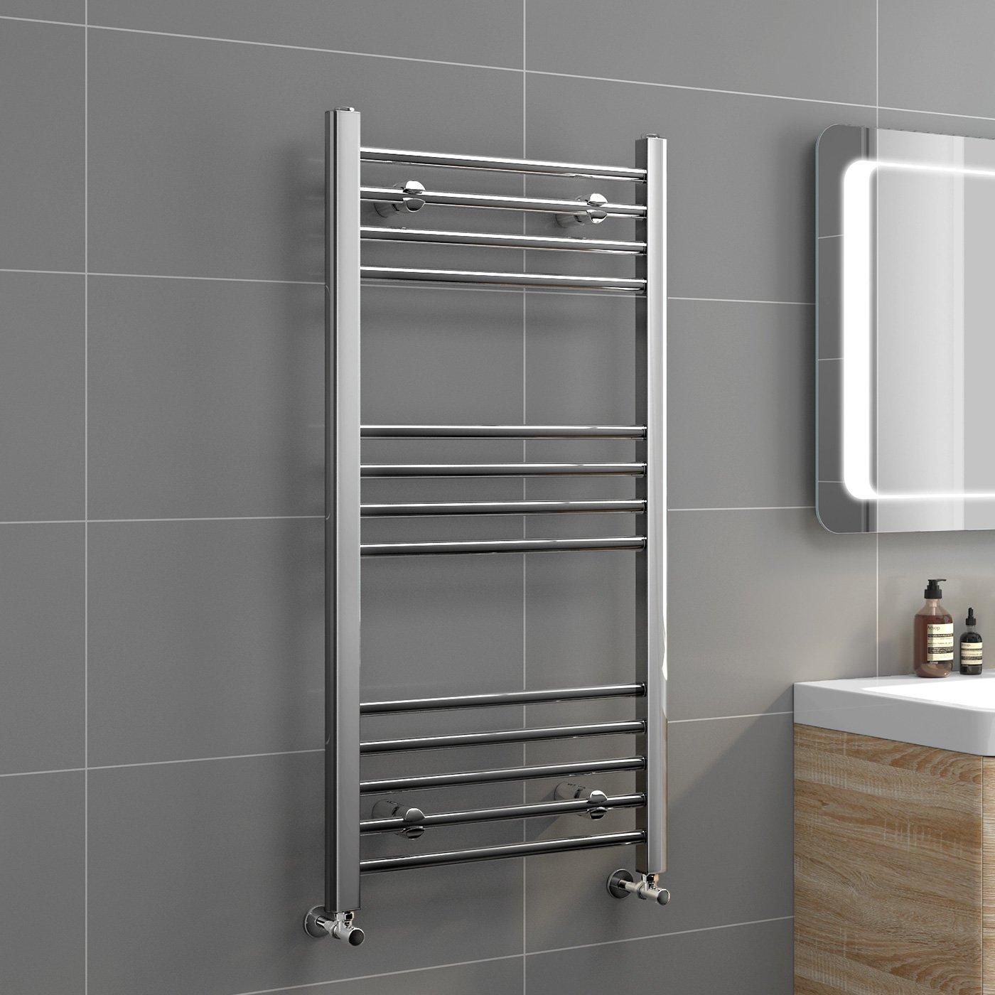 iBathUK 400 x 300 Straight Heated Towel Rail Chrome Bathroom Radiator - All Sizes