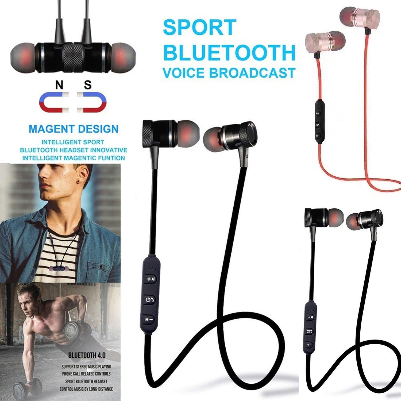 Onbio Sport Wireless Bluetooth Headset With Mic&LED General Stereo In-Ear Earphones Earbuds Handsfree Headphone (Black)