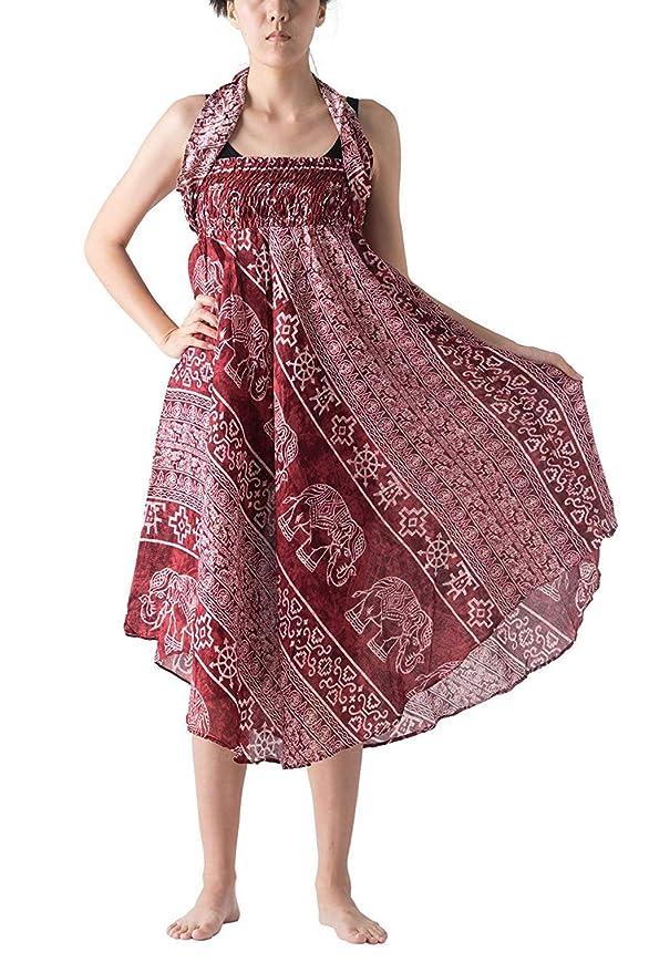 AOGOTO-Jupe Robe Falda Larga para Mujer, Estilo Hippie, Boho ...