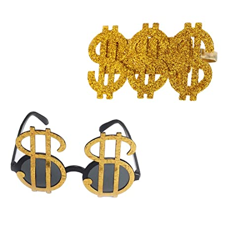 D DOLITY 2 Gafas de Sol con Diseño de Dinero, Color Dorado ...