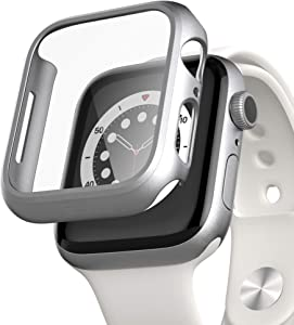 pzoz Compatible for Apple Watch Series 6/5 /4 /SE 44mm Case with Screen Protector Accessories Slim Guard Thin Bumper Full Coverage Matte Hard Cover Defense Edge for iWatch Women Men GPS (Silver)