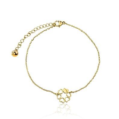 Armband Damen mit Herz Anhänger von BRANDLINGER SCHMUCK. Hochwertiges  Armkettchen mit 3 Micron und 18 Karat Goldplattierung. Kettenlänge 17+4cm ( extra). 43c9489ff5