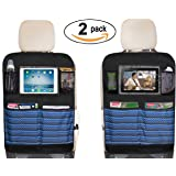 "Waterproof Kick Mats Car Seat Back Protectors with Clear 10"" Ipad Holder + 4 Storage Pockets Backseat Organizer (2 Pack)"