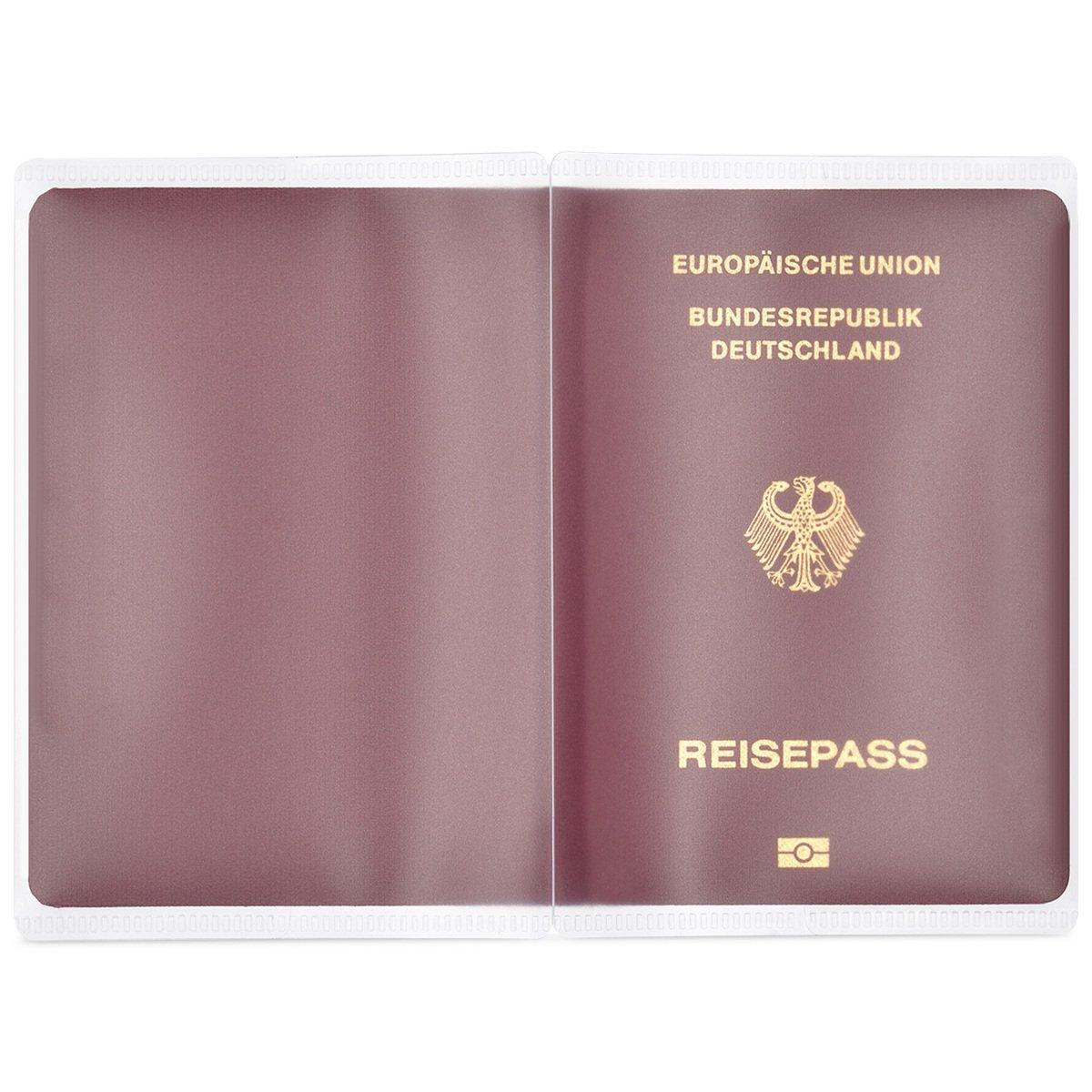 kwmobile 5X Housse de Protection pour Passeport en Plastique Transparent Transparente Carte didentit/é