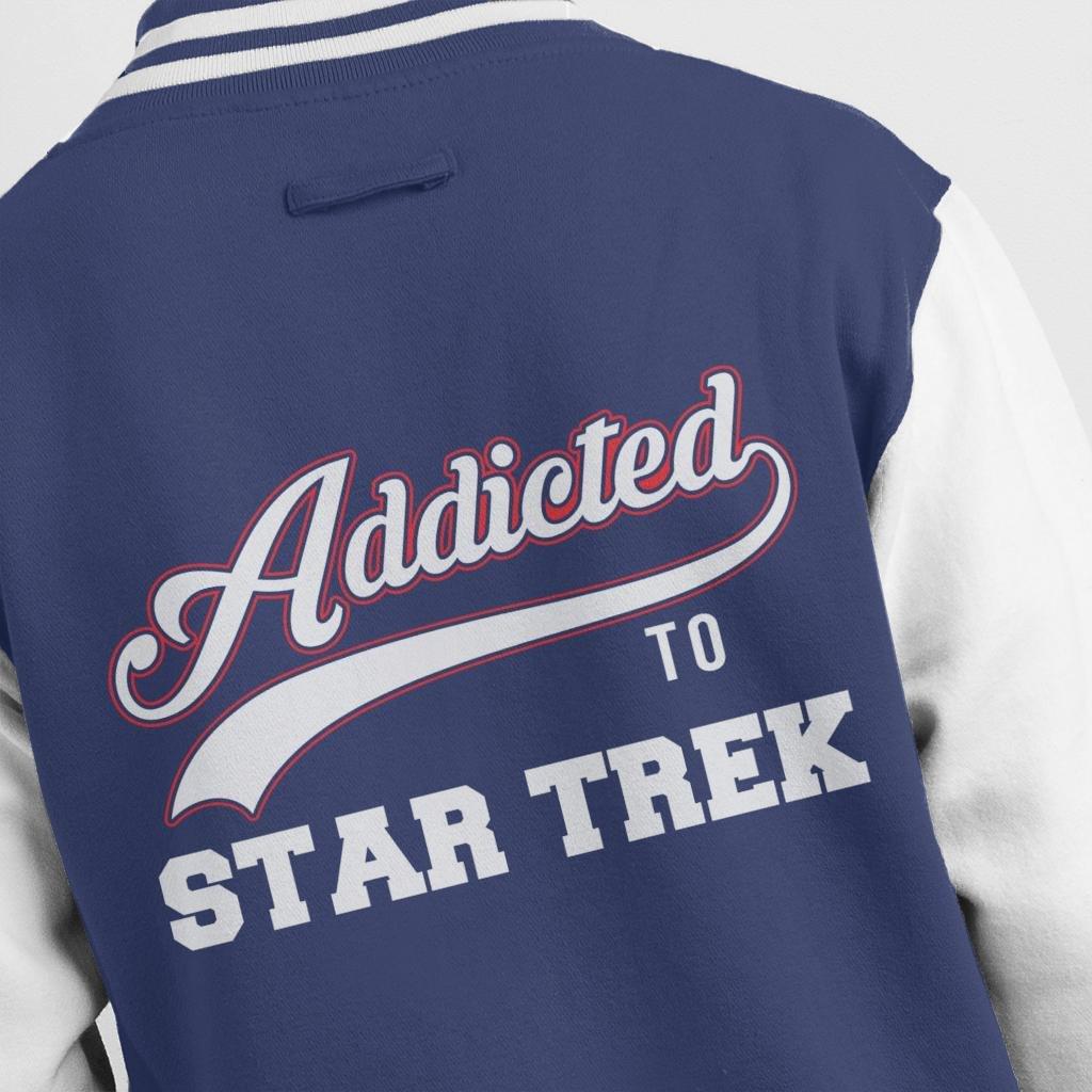 Addicted To Star Trek Baseball Font Mens Varsity Jacket