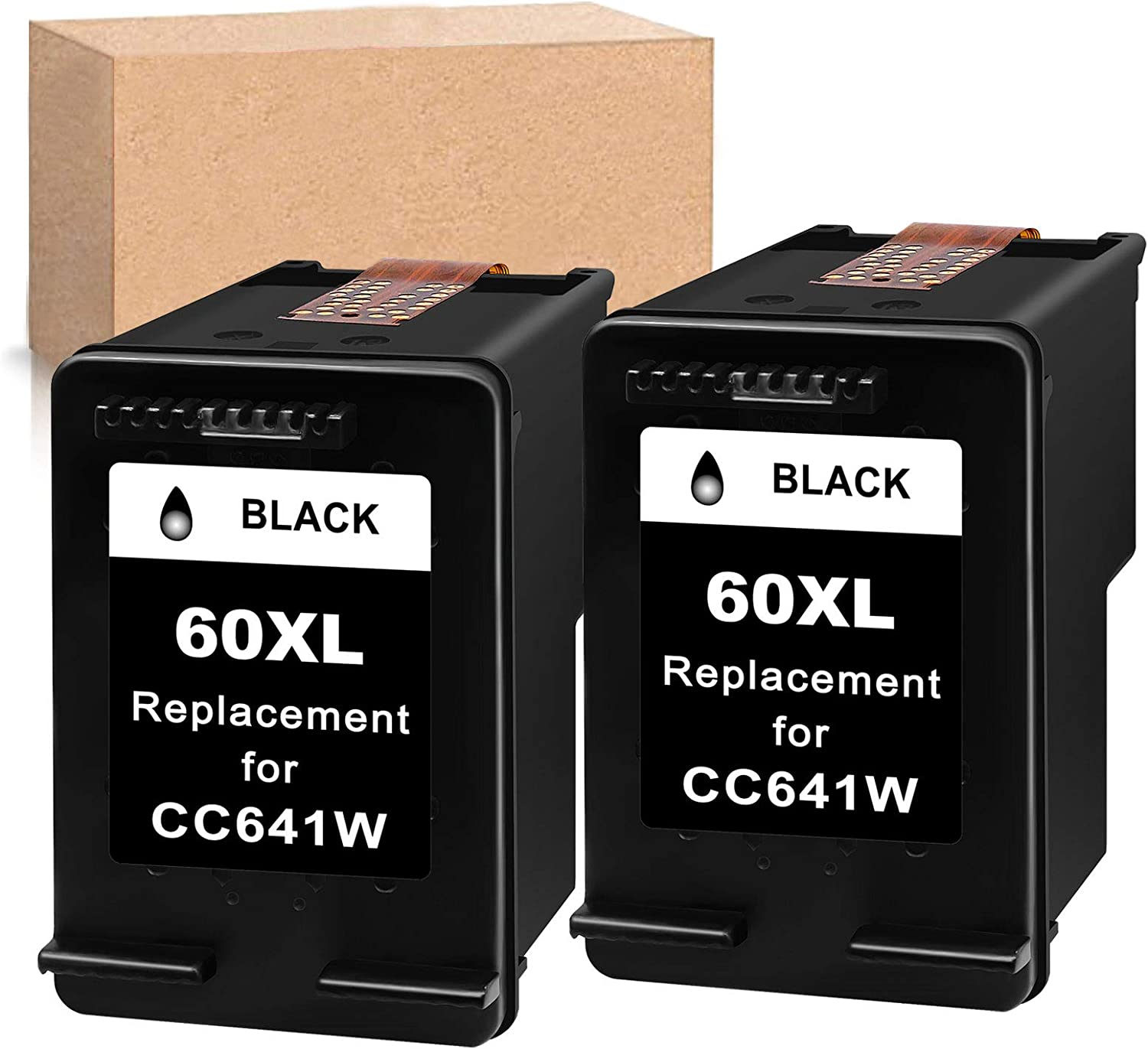 Economink Remanufactured Ink Cartridge Replacement for HP 60XL 60 XL Black to use with PhotoSmart C4700 C4795 C4600 D110a Envy 120 100 114 DeskJet F4235 F4580 F4400 F2430 F4440 F2480 Printer (2 Pack)