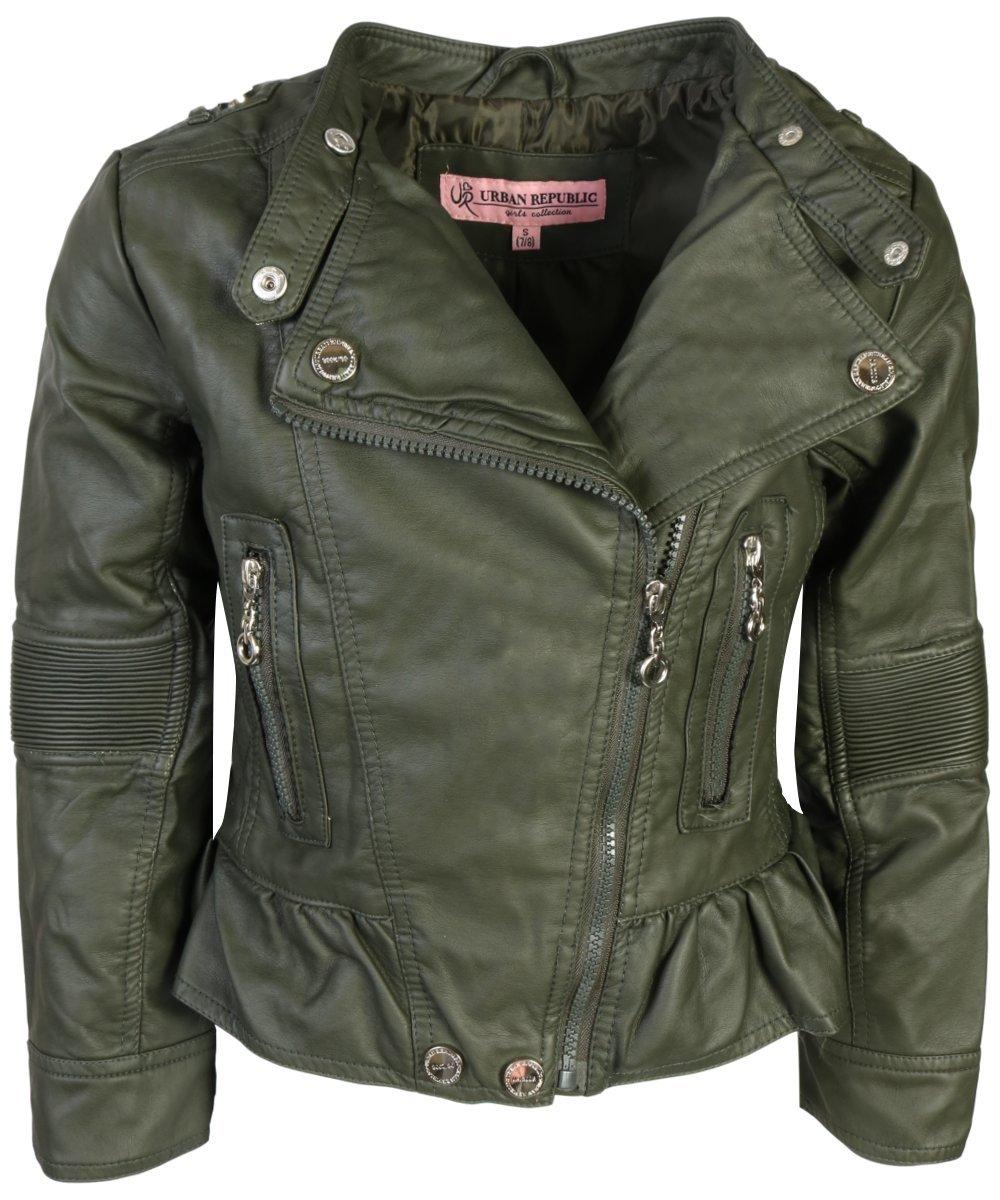Urban Republic Toddler & Big Girls Faux Leather Motorcycle Moto Biker Jacket (16, Basil Green)'