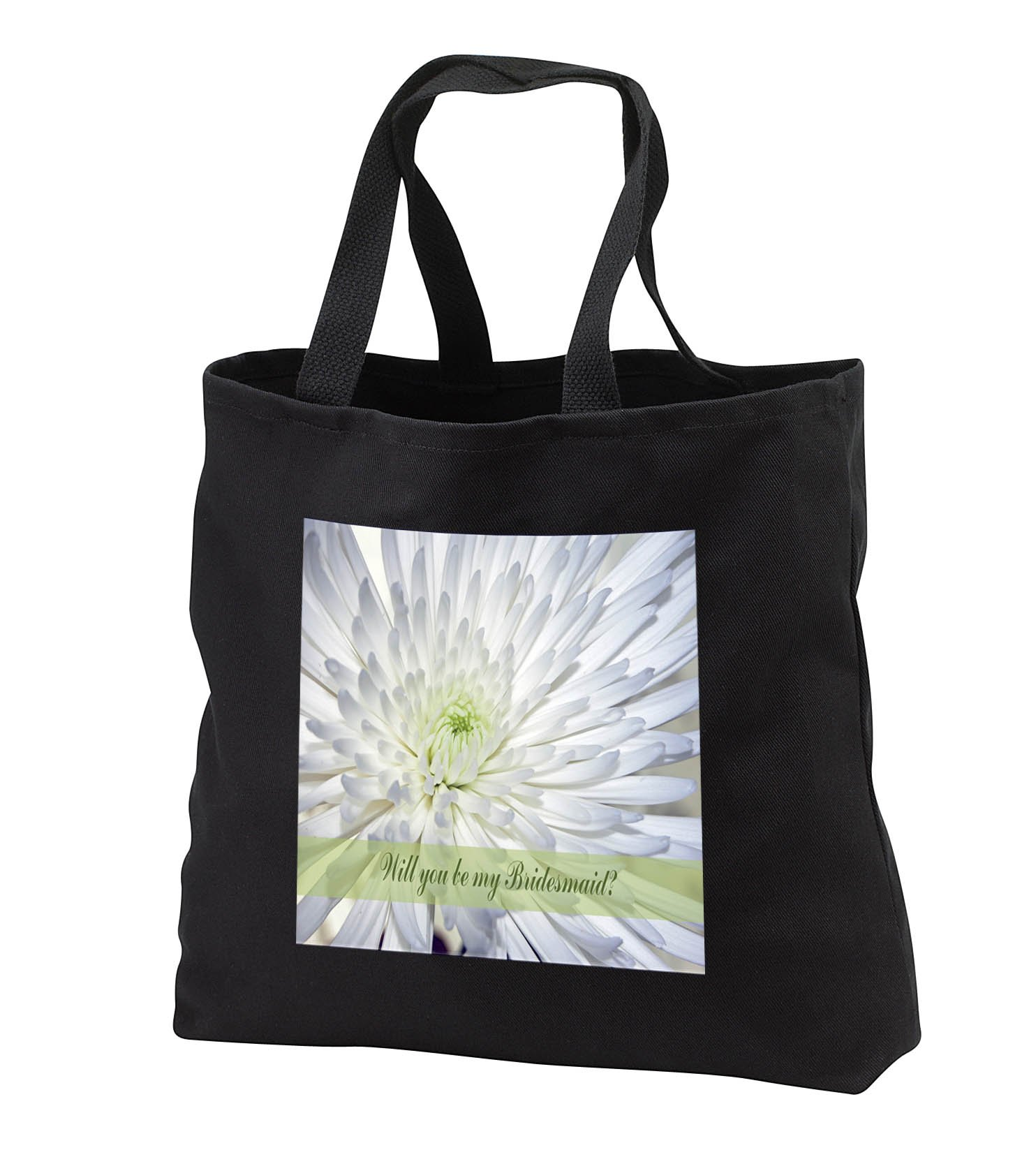 Beverly Turner Wedding Bridal Party Design - Will you be my Bridesmaid, Chrysanthemum, White and Green - Tote Bags - Black Tote Bag JUMBO 20w x 15h x 5d (tb_282203_3)