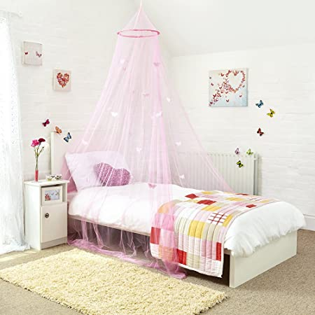 Mosquito Nets 4 U Princess Bed Canopy   Beautiful Butterfly Childrens Bed  Canopy In Pink