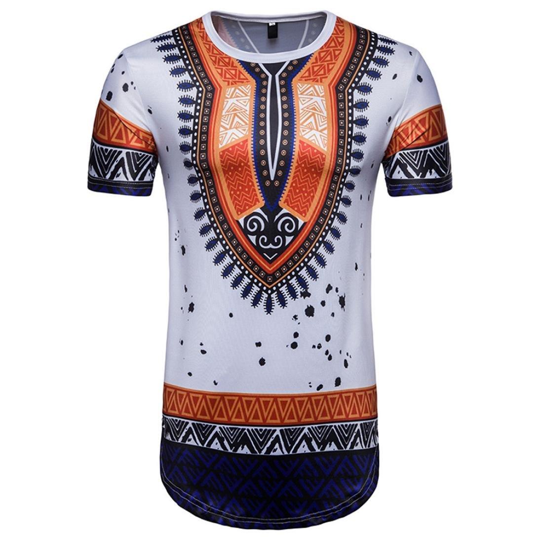 Vanvler Men African Print Shirt, Male [ Short Sleeve T-shirt ] Hipster Blouse Vintage Top (2XL, WHITE)