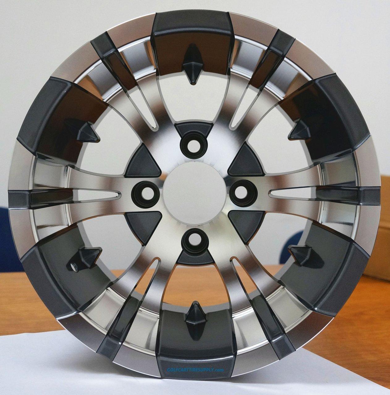 12'' Vampire Gunmetal Aluminum Wheels and 23X10.5-12'' All Terrain Golf Cart Tires Combo - Set of 4 by Golf Cart Tire Supply (Image #4)