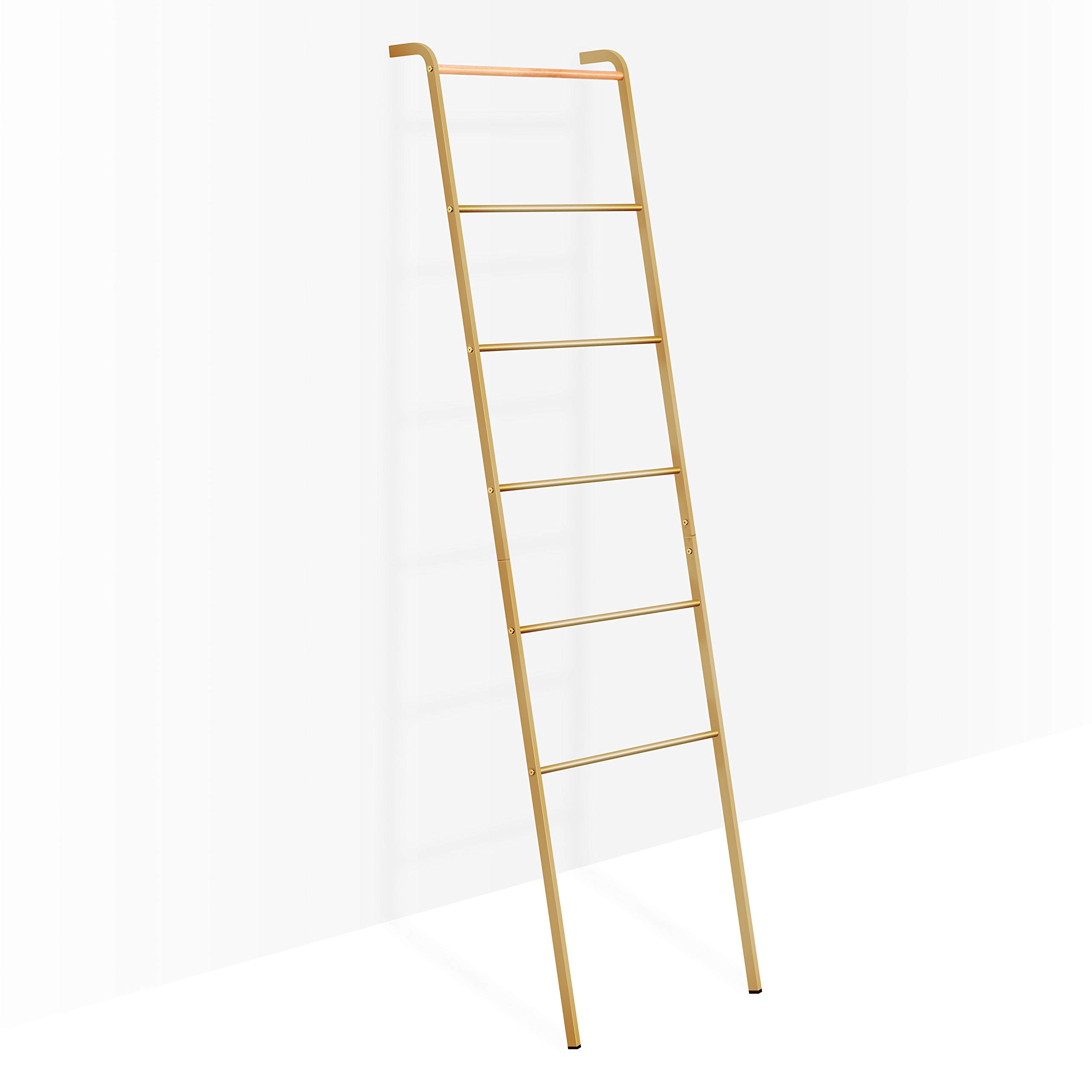 CDM product Brightech - Mila Decorative Ladder - Sturdy Metal and Wood Accessory for Indoor Outdoor Garden Porch Patio - Antique Brass big image