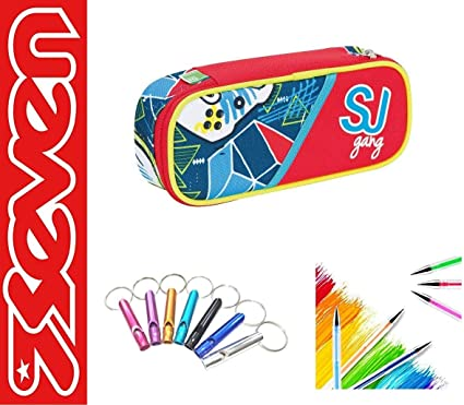 Estuche portalápices Seven SJ Gang Boy niño escuela cremallera round plus + llavero silbato + bolígrafo de colores: Amazon.es: Oficina y papelería
