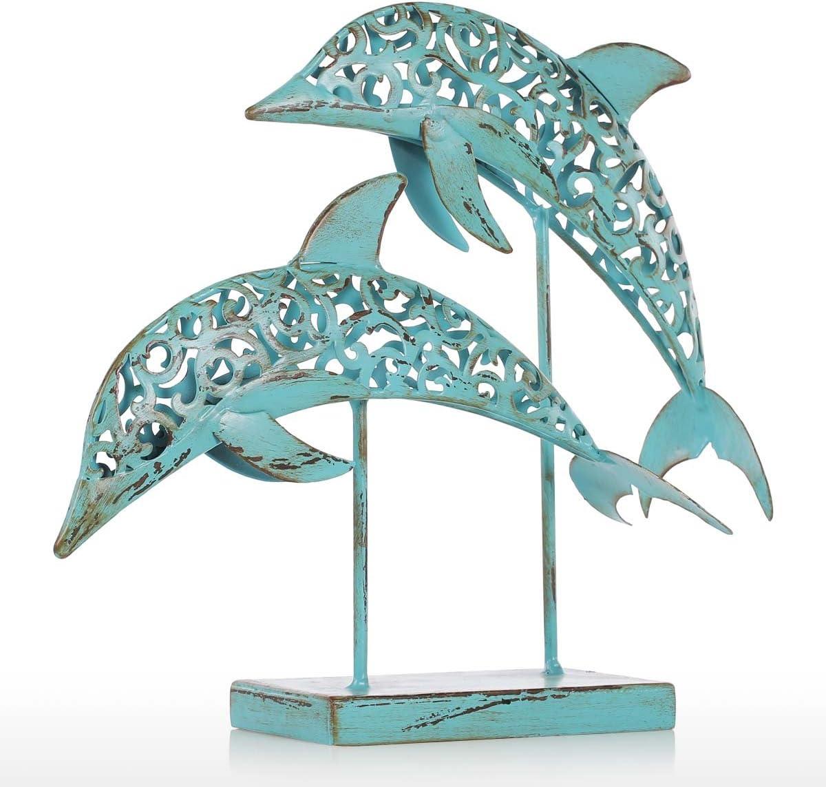Tooarts Dos Delfines Estatuas de Hierro Efecto Viejo Artesano Profesional Azul