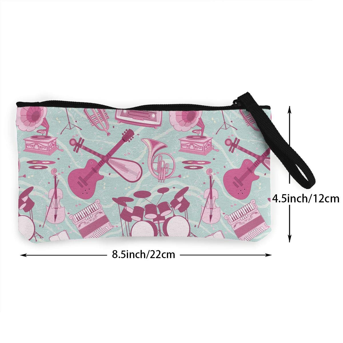 2 Pattern Canvas Coin Purse Assorted Wallet Bag With Zip Musical Instruments