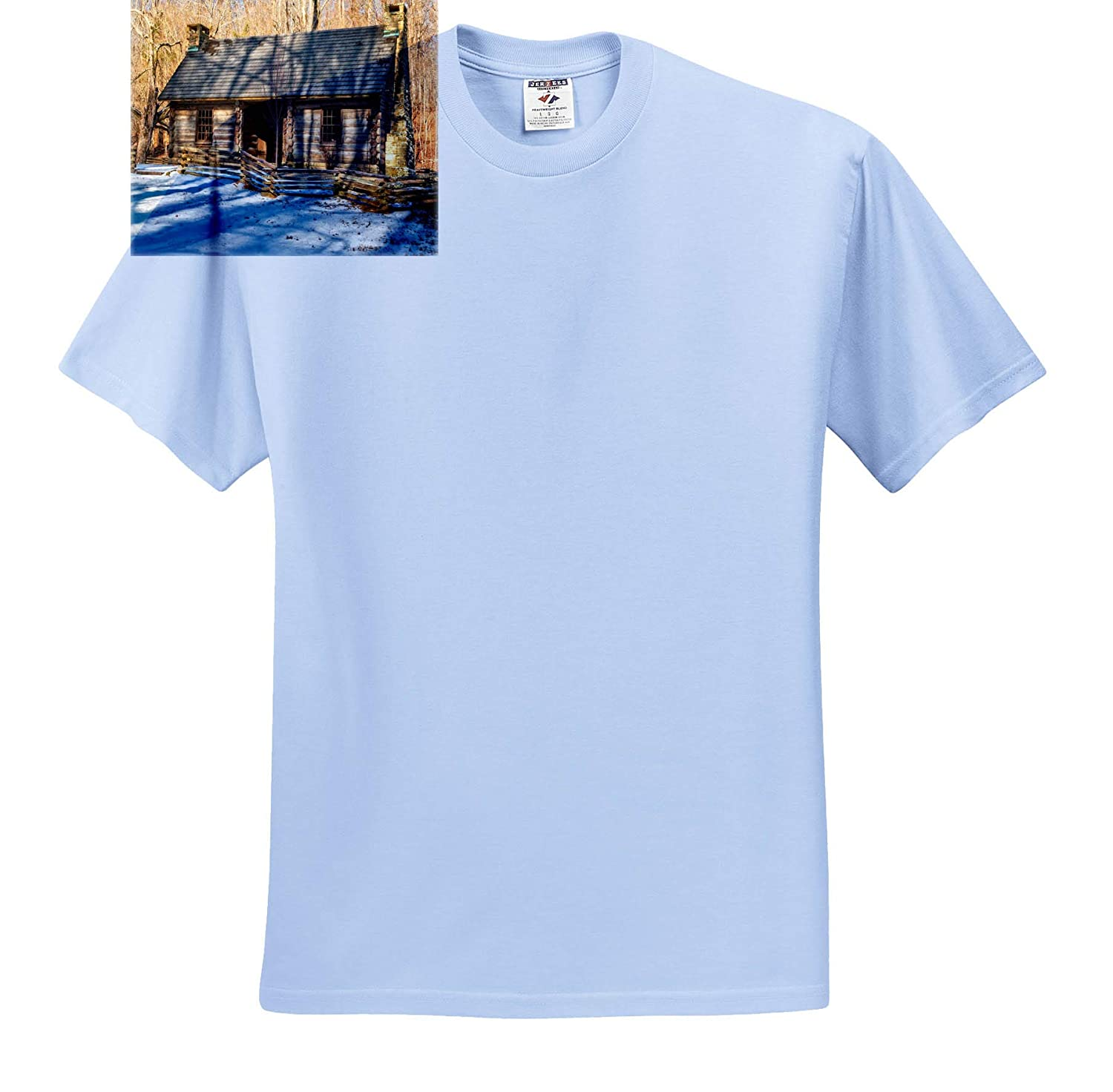 3dRose Mike Swindle Photography T-Shirts Landscape Cabin in Snow