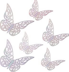 AIEX 24pcs 3D Butterfly Wall Stickers 3 Sizes Butterfly Wall Decals Room Wall Decoration for Bedroom Party Wedding Decors (Colorful)