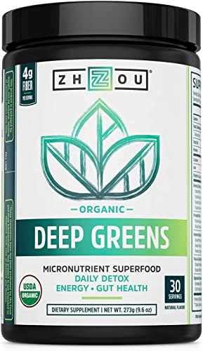 Deep Greens – Organic Green Superfood Powder – Morning Complete Prebiotic Probiotic Powder – Green Blend of Wheatgrass, Spirulina, and Maca Powder 30 Servings