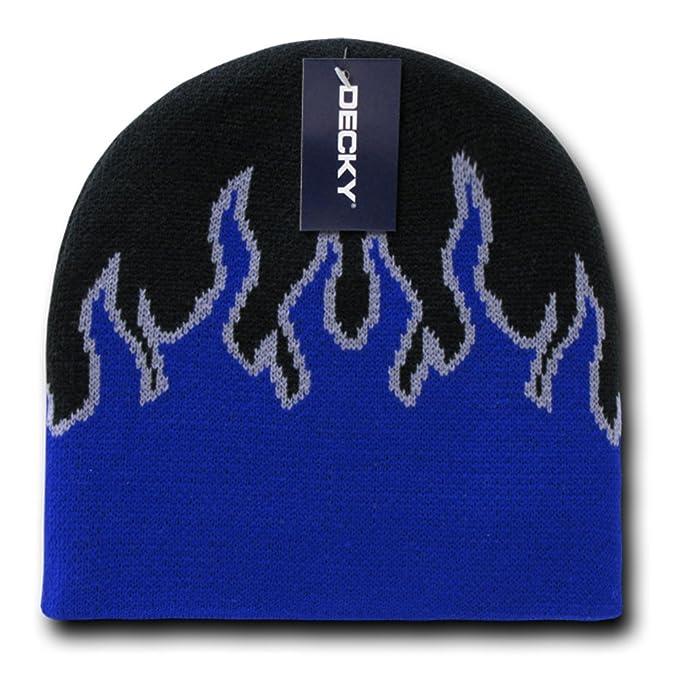 fd8014f552f DECKY Short Style Winter Acrylic Fire Flame Pattern Beanie Hat - Black Blue