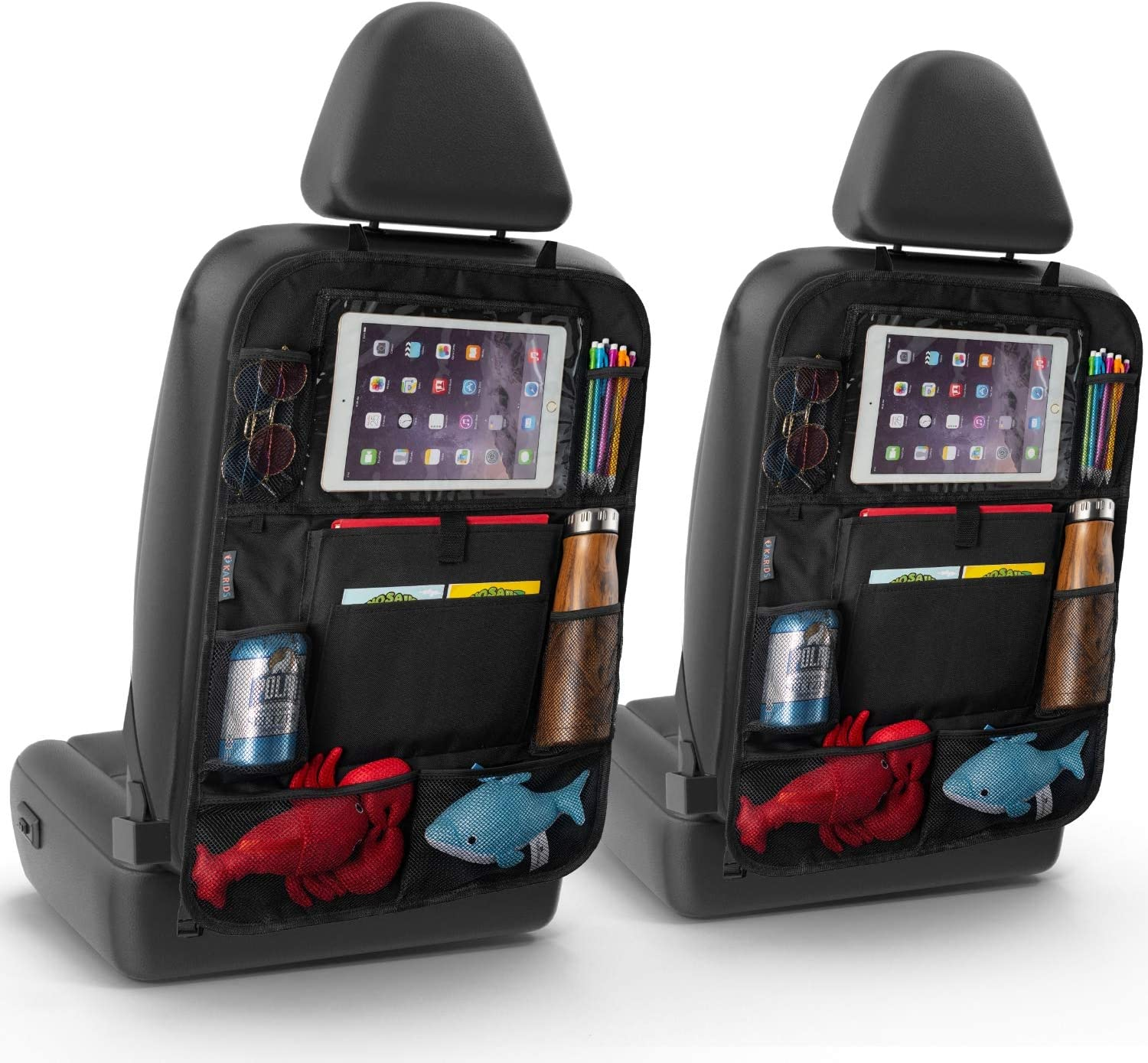 Karids 2 Pack Backseat Car Organizer - Multi Pocket All Purpose Holder for iPad, Cooler bottles, Toys, Books, Tissues, etc.-car seat accessories storage protector organiser-campervan uk
