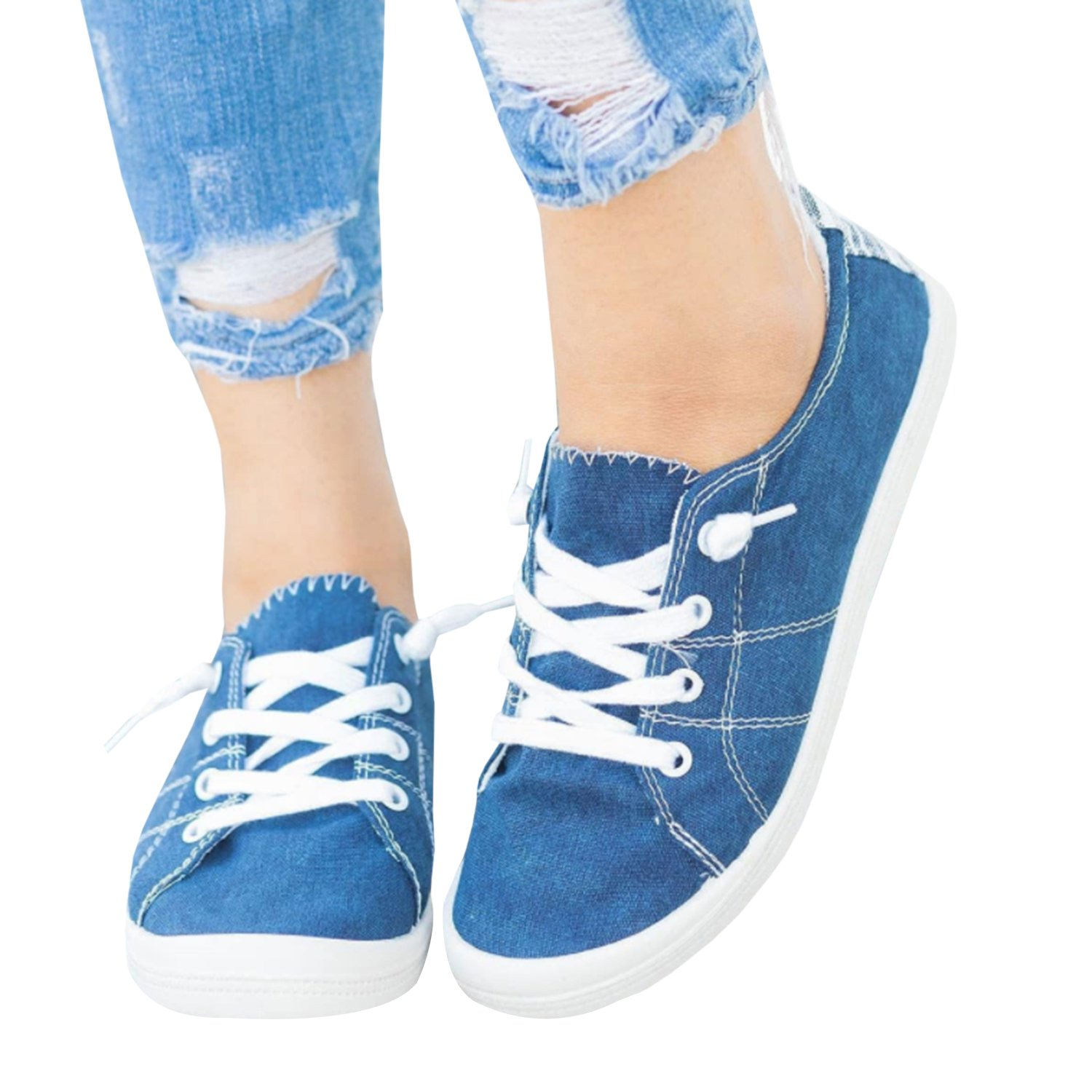 a842525a5d136 Womens Summer Canvas Sneakers Low Top Lace up Slip-On Flats Shoes