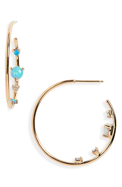 [ダブリューウェイク] レディース ピアス&イヤリング WWAKE Opal & Diamond Inverted Hoop Earri [並行輸入品] B07HRGWGZ7  One Size