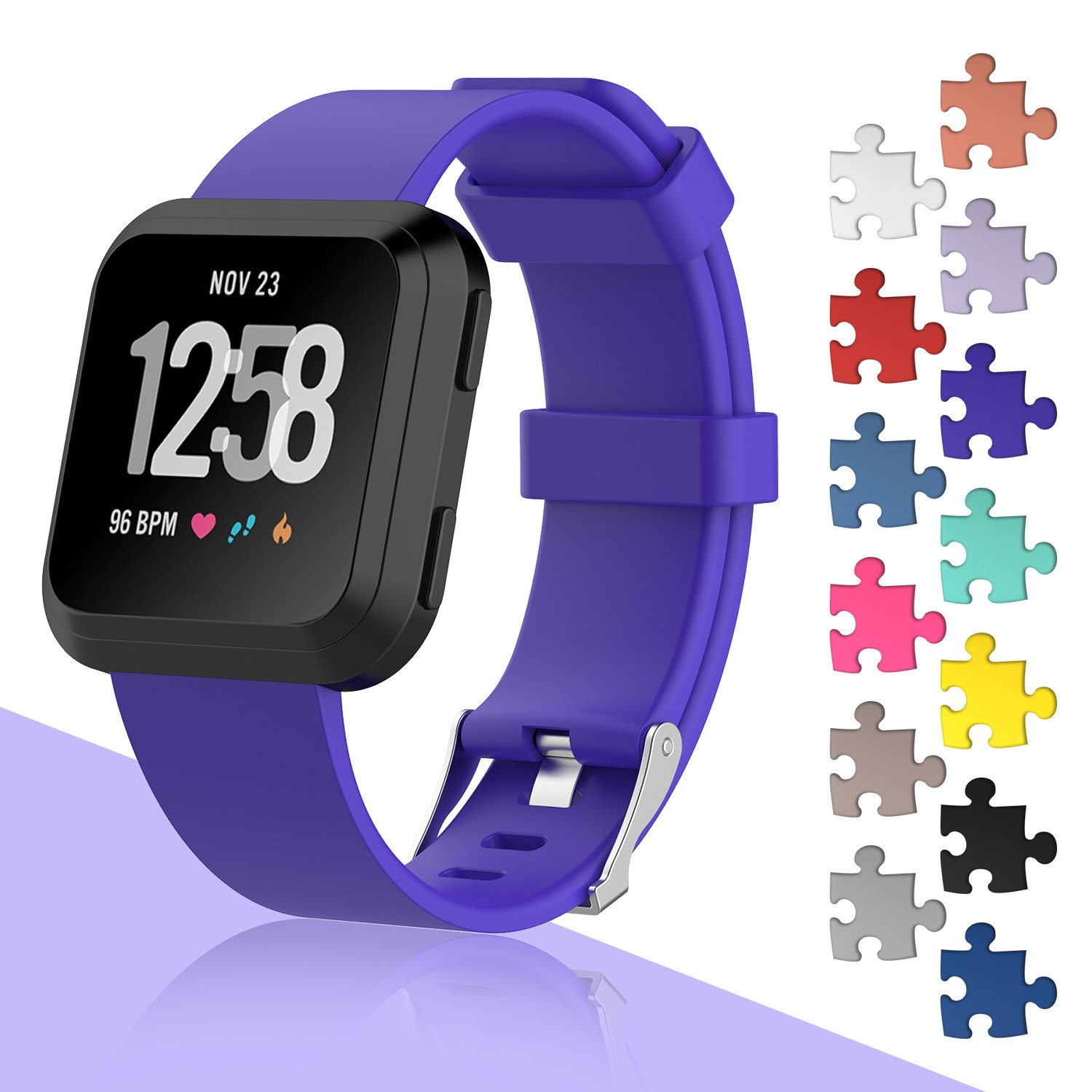 I SMILE Fitbit Versa Bands Classic Edition Replacement Bracelet Sport Wristband with Buckle Accessories Strap for Fitbit Versa Fitness Smart Watch 13 Colors Large Small