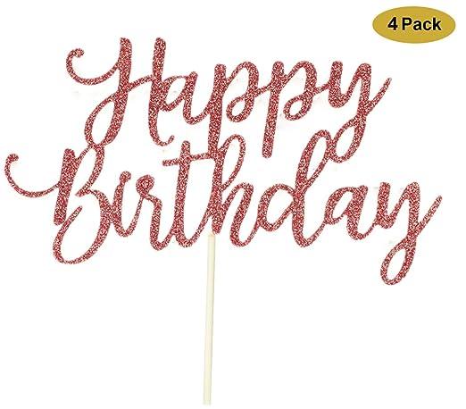 Paquete de 4 adornos para tartas de cumpleaños, color oro ...