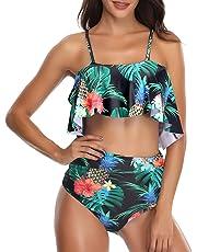 f98fbd9b3b Femme Volants Bikinis Taille Haute Vintage 2 Pièces Push Up Maillot de Bain
