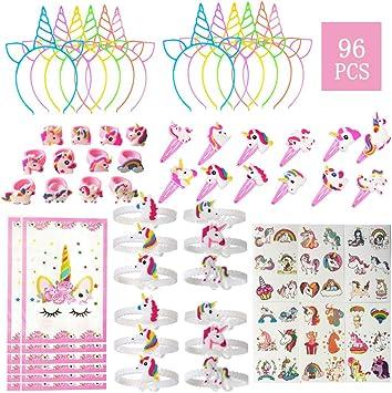 Amazon.com: Paquete de 96 favoritos de unicornio para niños ...