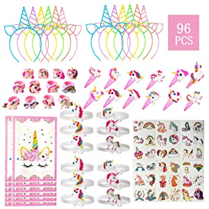 96 Pack Unicorn Party Favors for Kids, Unicorn Party Supplies Birthday Decorations with Unicorn headband, Bracelets, Rings, Stickers, Hairpin, Bonus Goodie Bags, Perfect Unicorn Gifts for Girls