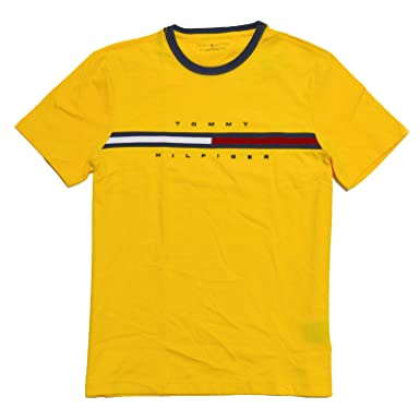 9b50b66ae Image Unavailable. Image not available for. Color  Tommy Hilfiger Mens Classic  Fit Big Logo T-Shirt (Blazing Yellow