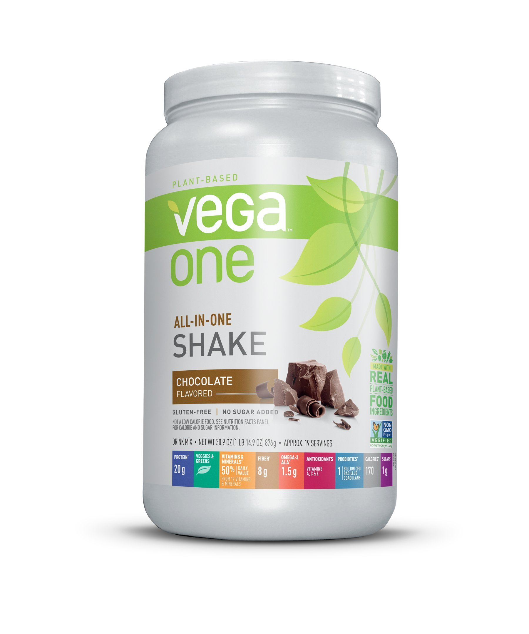 Vega One All-In-One Nutritional Shake Chocolate (19 Servings) - Plant Based Vegan Protein Powder, Non Dairy, Gluten Free, Non GMO, 30.9 Ounce (Pack of 1) by VEGA