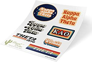 Kappa Alpha Theta 70's Themed Sticker Sheet Decal Laptop Water Bottle Car Theta (Full Sheet - 70's)